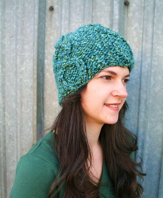 Multi Colored Beanie Beret Hat in Blue and Green Warm Winter Beanie
