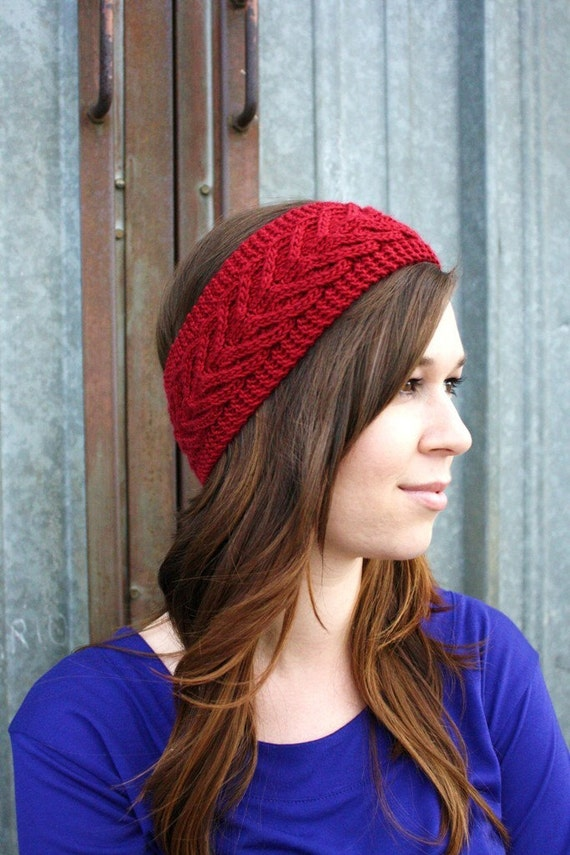 Thick Cabeled Headband in Red