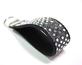 Sparkle glitter wristlet key fob keychain silver