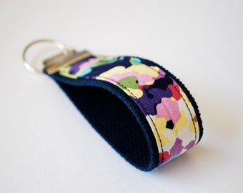 Key fob fabric wristlet in Water Bouquet Midnight by Amy Butler Love