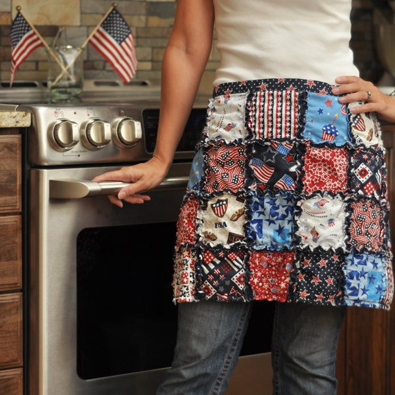 Rag quilt half apron in patriotic americana cotton