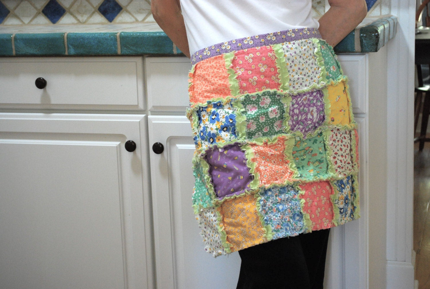 Rag quilt half apron in 1930 s reproduction prints