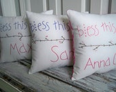 RESERVED for Michelle.  Bless This Child. Custom Personalized Primitive Childrens Pillow