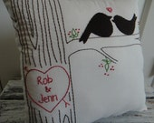 Custom listing for Allison. Price difference for love birds.  Large Primitive Style Love Faux Bois Stitched Pillow