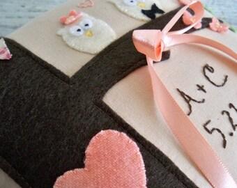 Hooo-Ray for Love. Custom Owl Wedding Ring Bearer Pillow in YOUR colors