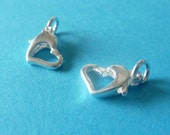 Sterling silver heart shape clasp - 2 pcs