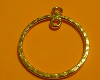 2 pcs - 1 pair 29 mm gold vermeille hammered hoop with two loops