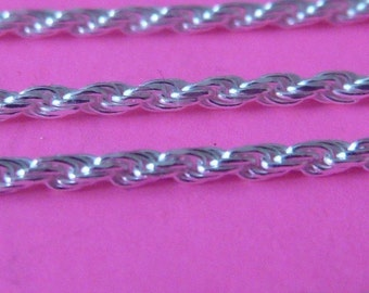 18 inch Sterling silver 1.25 mm italian twisted rope chain