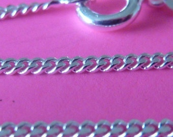 2 pcs 20 inch 1.5 mm sterling silver italian curb chain