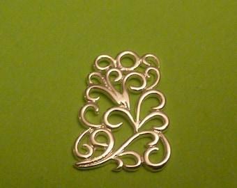 2 pcs sterling silver contemporary vine design filgree charm pendant
