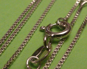 2 pcs 16 inch Italian Rhodium plated sterling silver box chain