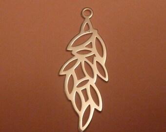 2 pcs 38 mm sterling silver branch filigree pendant