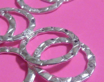 6 pcs 14 mm sterling silver hammered flat round connector earring hoop ring