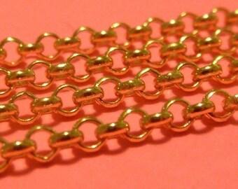 Italian gold vermeil rolo bulk chain - 2.3 mm - 3 feet
