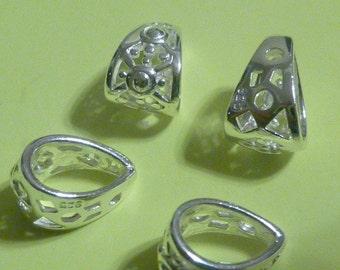 2 pcs 10 mm sterling silver teardrop shape bail filgree