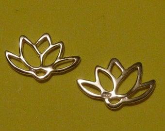 4 pcs 14 mm sterling silver lotus flower filigree charm link
