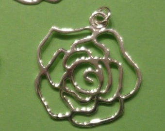 Sterling silver flower shape charm pendant connector - 2 pcs