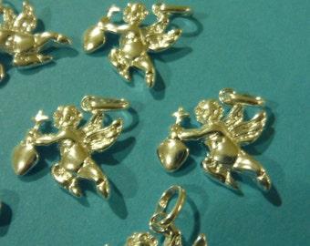 Sterling silver shiny angel pendant charm - 2pcs