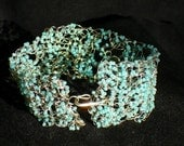 Wire Crochet Bracelet with Turquoise Colored Seed Beads
