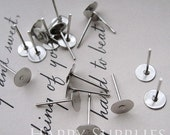 200pcs Silver Plated Earring Posts With 8mm Pad (18048)