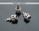 5Pcs Antiqued Silver Plated Bronze Crown Charms / Pendants (15101)