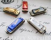 5 Mini Different Color Vintage Style Harmonica Pendants