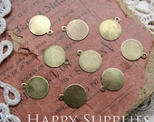 20Pcs 10 mm Antique Bronze Brass Charm Settings / Tags with Loop (SD415)