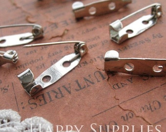 50Pcs 20mm Silver Plated Safety Pin Back Base  (13585)
