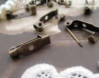 25Pcs 15mm Antique Bronze Safety Pin Back Base  (21706)