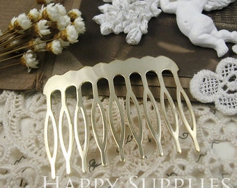 4pcs Nickel Free - High Quality Real Gold Plated Copper 9 Teeth Barrette Hair Combs (ZX145)