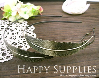 10Pcs Nickel Free - High Quality Large Antiqued Bronze Filigree Feather Pad Headband (ZT115)
