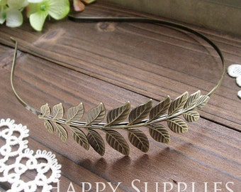 5Pcs Nickel Free - High Quality Large Antique Bronze Brass Leaves Pad Headband (ZT111)