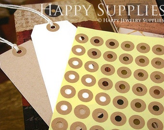 140pcs 15mm Hang Tag Donut Hole Kraft Ring Label Stickers (PS005)