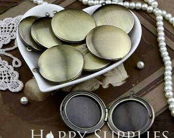 10pcs 33mm Round Blank Antique Bronze Brass Locket Pendants /Charms (ZL033)