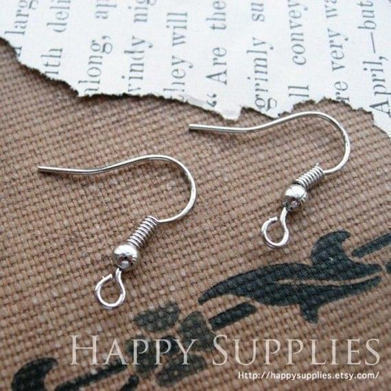 100pcs nickel free 19mm Silver Copper Earring Hook Earring Wire (HE142)