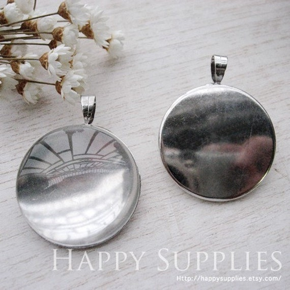 10Pcs 25mm Nickel Free - High Quality Silver Copper Cabochon Pendant Brass with Loop (HD212)