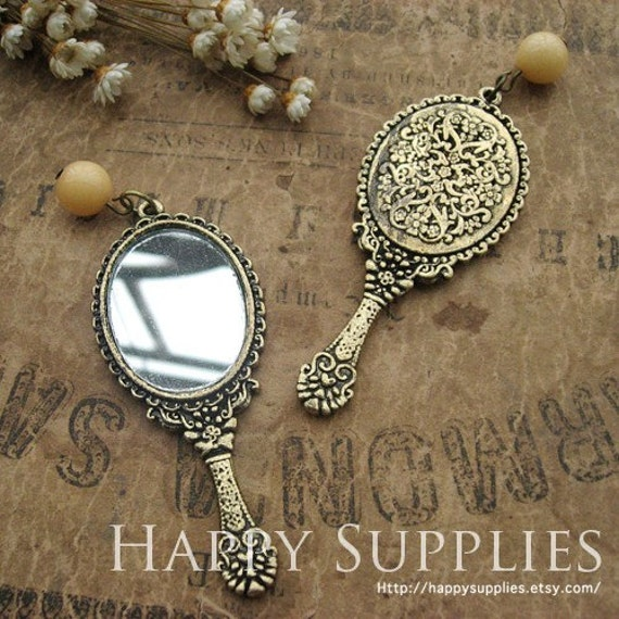 Last - 1pc LARGE Antique Bronze Vintage Mirror Charm / Pendant (GG0137C)