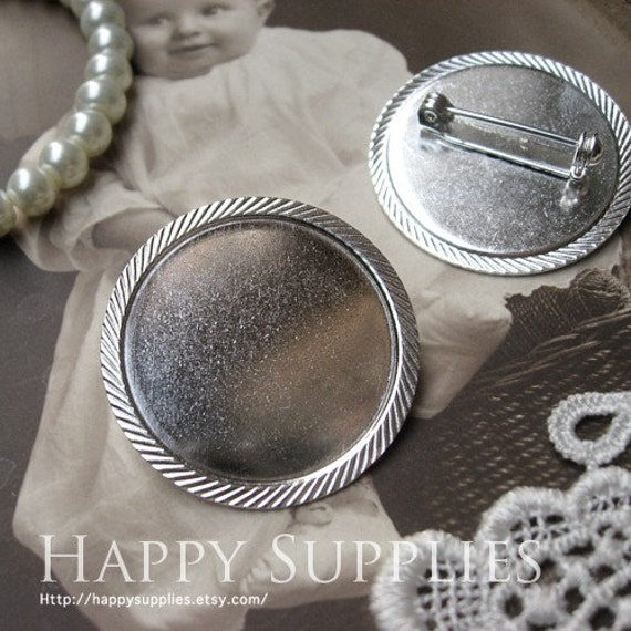 5Pcs Nickel Free - High Quality Silver Plated Cabochon Pendant Base Brooch (ZX143)