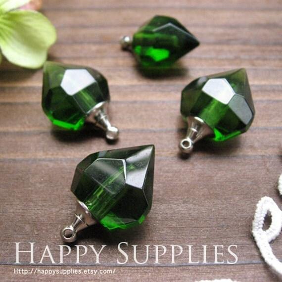 4Pcs Crystal-like Little Glass Diamond Bottles-Pendants (green - LD07)