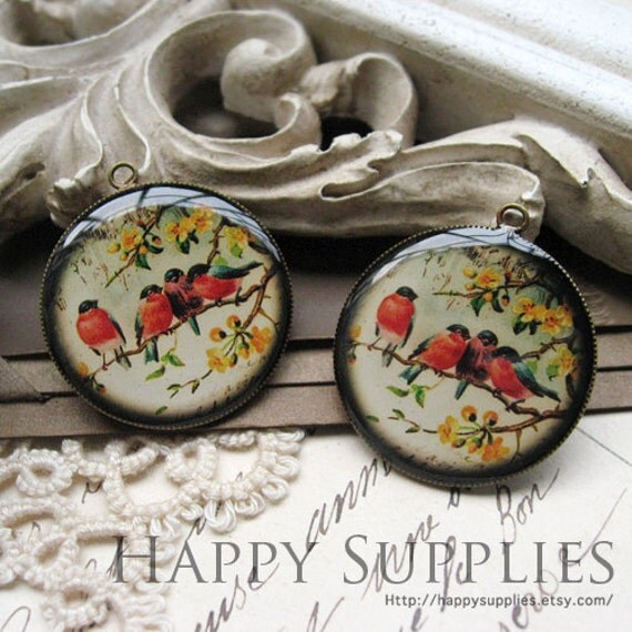 Sale - 10% OFF - 4Pcs 25mm (R25015-B) Round Handmade Resin Pendants with Antique Bronze Pendant Setting