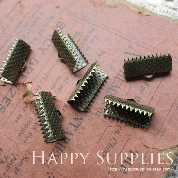 100pcs 16mm Antique Bronze Fasteners Clasps / Clamps Cord Ends (21936)