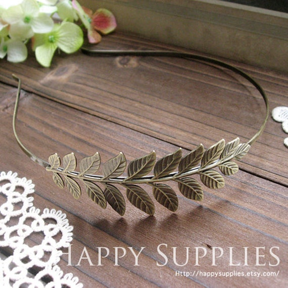 2Pcs Nickel Free - High Quality Large Antique Bronze Plated Brass Leaves Pad Headband (ZT111)