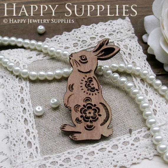 2Pcs Large Handmade Lovely Rabbit Charms / Pendants (LC006)