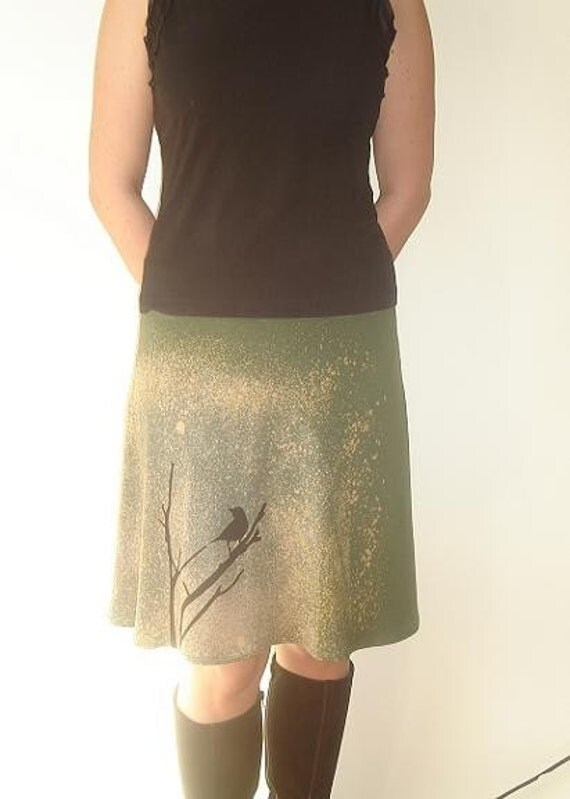 Olive Green  Bamboo Jersey Skirt with Crow Print