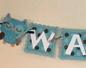 Blue and Brown Polka Dot Owl Banner