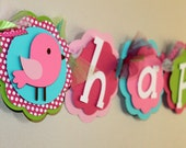 "Birdie ""it's a girl"" Banner Pink Green Turquoise Shabby Chic First Birthday Decorations Bird Baby Shower Girl Room Decor"