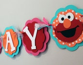 Elmo Turquoise Pink Orange and Red Happy Birthday Banner