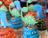 Dinosaur Cupcake Toppers Lime Green Orange and Turquoise Blue Boy Dino Birthday Party Decorations