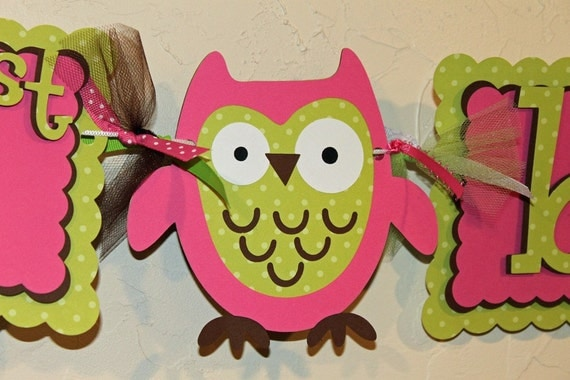 Owl Happy Birthday and age Banner Pink, Green, and Brown