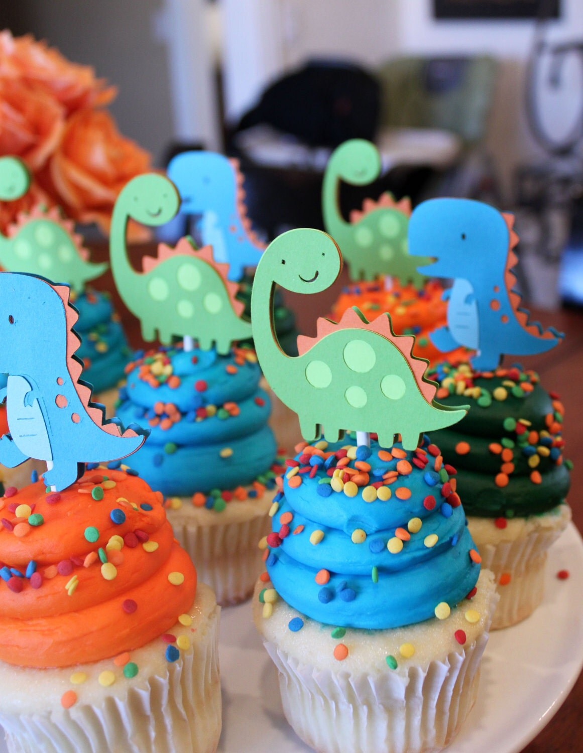Dinosaur Cupcake Toppers Lime Green Orange and Turquoise Blue
